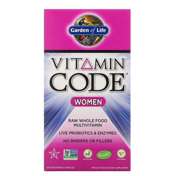 Garden of Life, Vitamin Code, для женщин, 240вегетарианских капсул