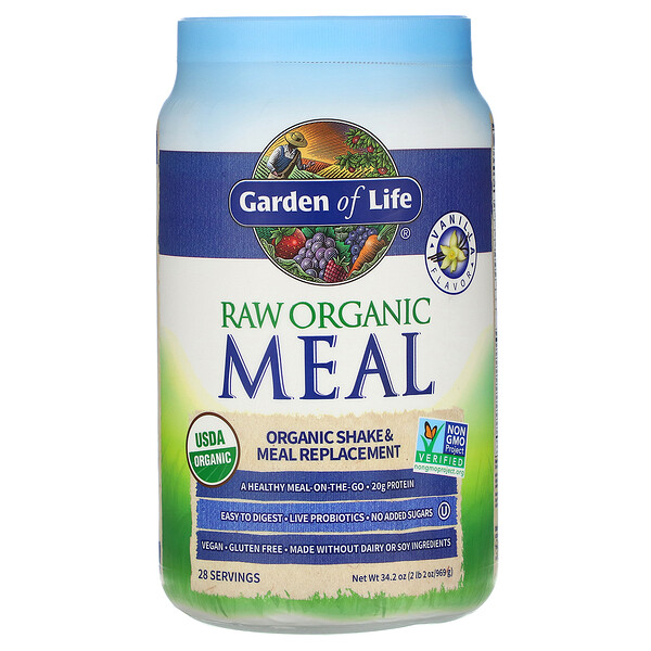 RAW Organic Meal, Shake & Meal Replacement, Vanilla, 2 lb 2 oz (969 g)
