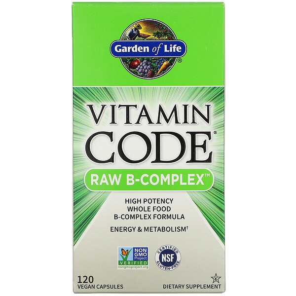 Garden of Life, Vitamin Code, Raw B-Complex, 120 веганских капсул