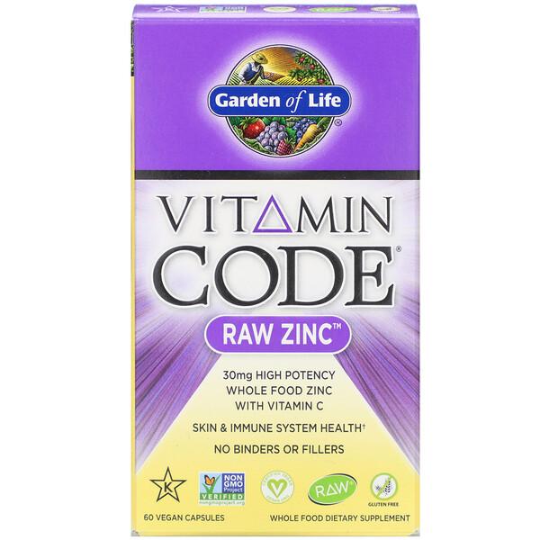 Vitamin Code, цинк RAW, 60 веганских капсул