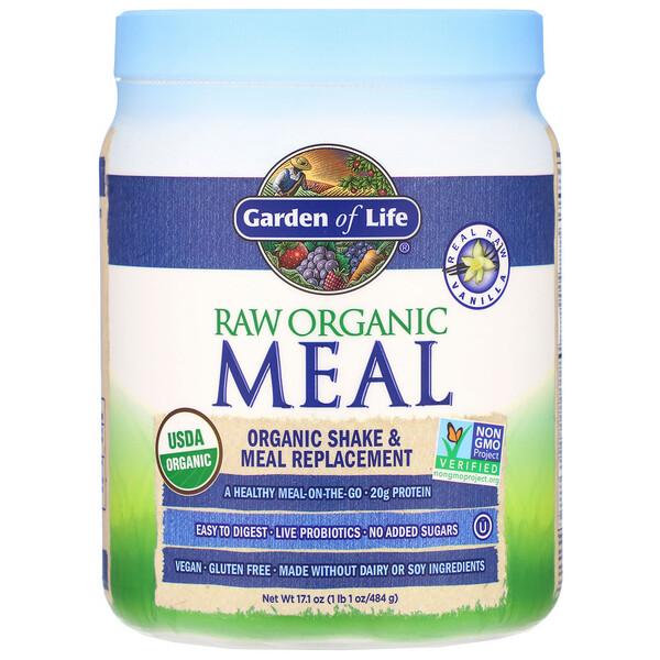Сырая органическая еда, органический коктейль и замена еды, со вкусом ванили, 475 г (16,7 унций)