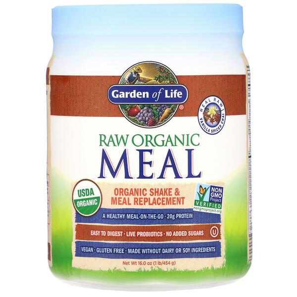 Сырая органическая закуска, органический заменитель коктейлей и пищи, чай с ванилью и специями, 454г (16унций)