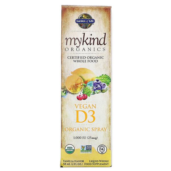 MyKind Organics, веганский органический спрей с D3, ваниль, 25мкг (1000МЕ), 58мл (2жидк.унции)