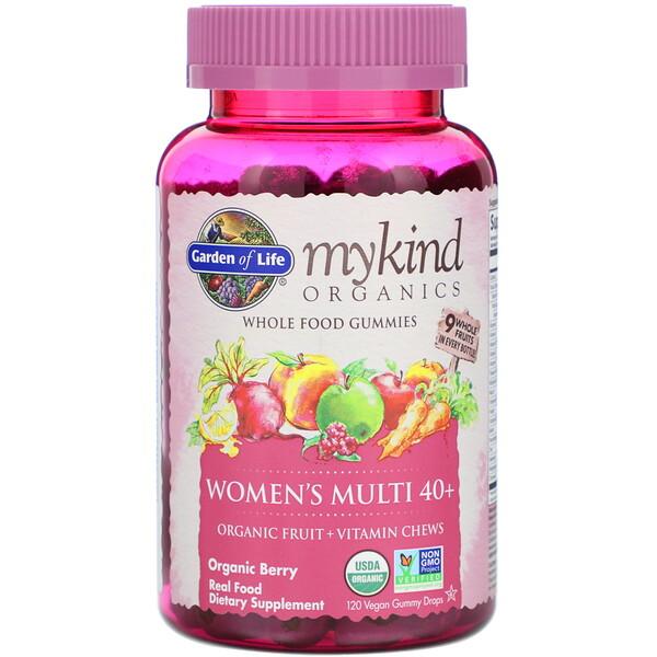 MyKind Organics, мультивитамины для женщин в возрасте от 40лет, органические ягоды, 120веганских жевательных конфет