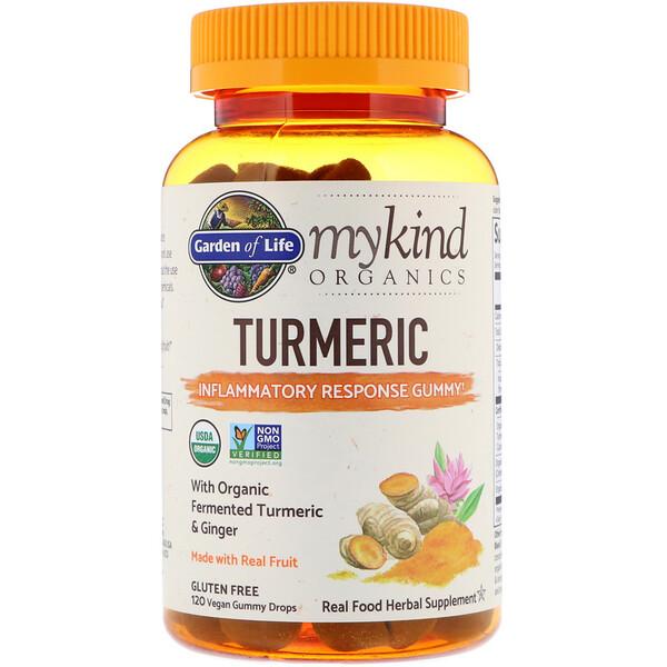 MyKind Organics, куркума, противовоспалительные жевательные таблетки, 120веганских жевательных таблеток