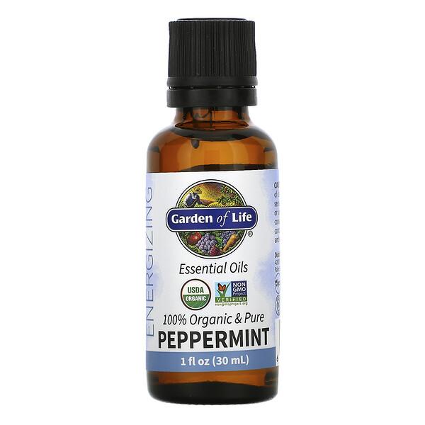 100% Organic & Pure, Essential Oils, Energizing, Peppermint, 1 fl oz (30 ml)