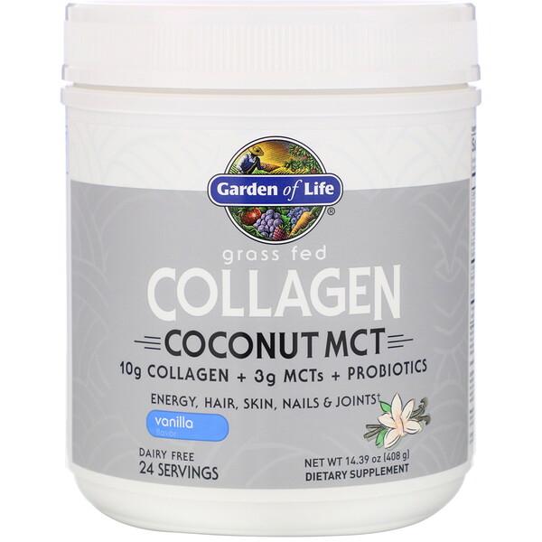 Grass Fed Collagen, Coconut MCT, Vanilla, 14.39 oz (408 g)