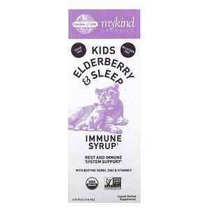 Garden of Life, Mykind Organics, Kids Elderberry & Sleep, Immune Syrup with Bedtime Herbs, Zinc & Vitamin C, 3.92 fl oz (116 ml)
