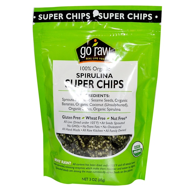 Go Raw, Органические супер чипсы, спирулина, 3 унции (85 г) (Discontinued Item)