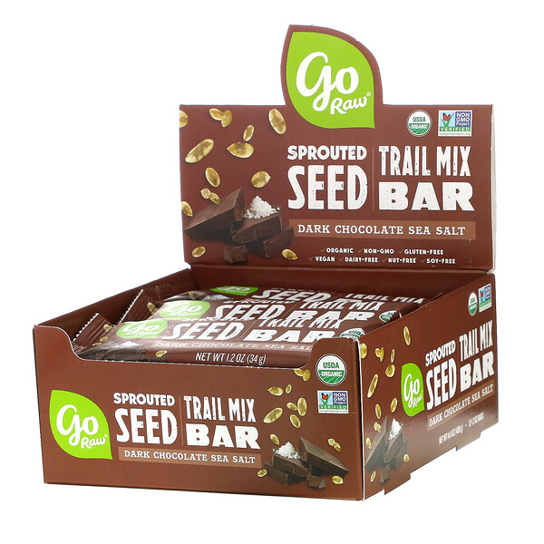 Sprouted Seed Trail Mix Bar, Dark Chocolate Sea Salt, 12 Bars, 1.2 oz(34 g) Each