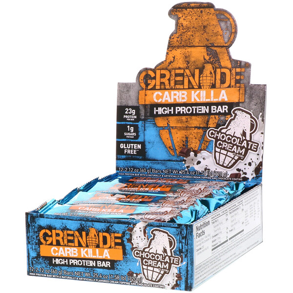 Carb Killa, High Protein Bar, Chocolate Cream, 12 Bars, 2.12 oz (60 g) Each