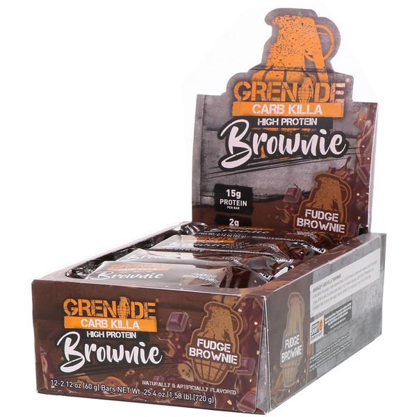 Grenade, Carb Killa, High Protein Brownie, Fudge Brownie, 12 Bars, 2.12 oz (60 g) Each (Discontinued Item)