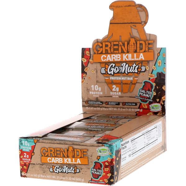Grenade, Carb Killa, ореховый протеиновый батончик Go Nuts, соленый арахис, 15 батончиков по 1,41 унц. (40 г)