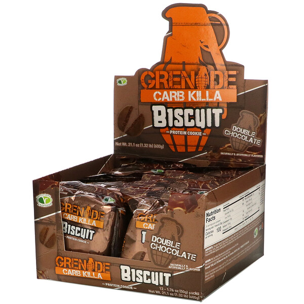 Carb Killa, Biscuit, Double Chocolate, 12 Bars, 1.76 oz (50 g) Each