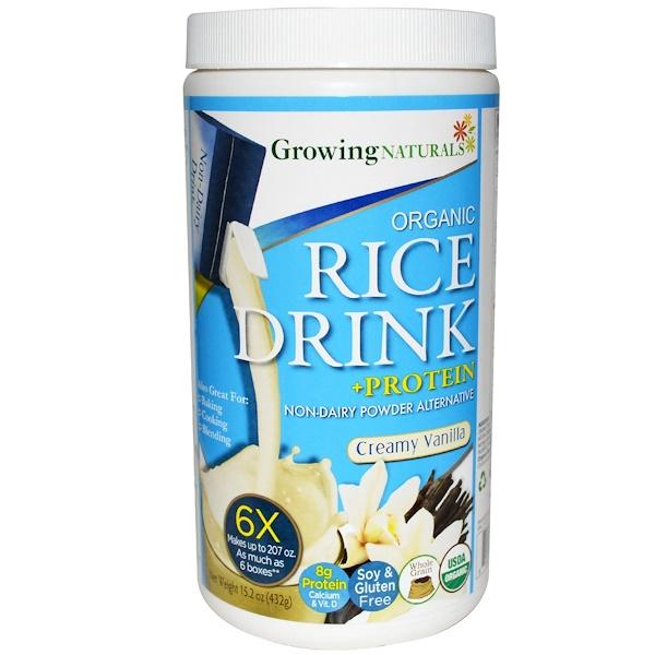 Growing Naturals, Органический рисовый напиток + белок, порошок, сливочная ваниль, 15,2 унций (432 г) (Discontinued Item)