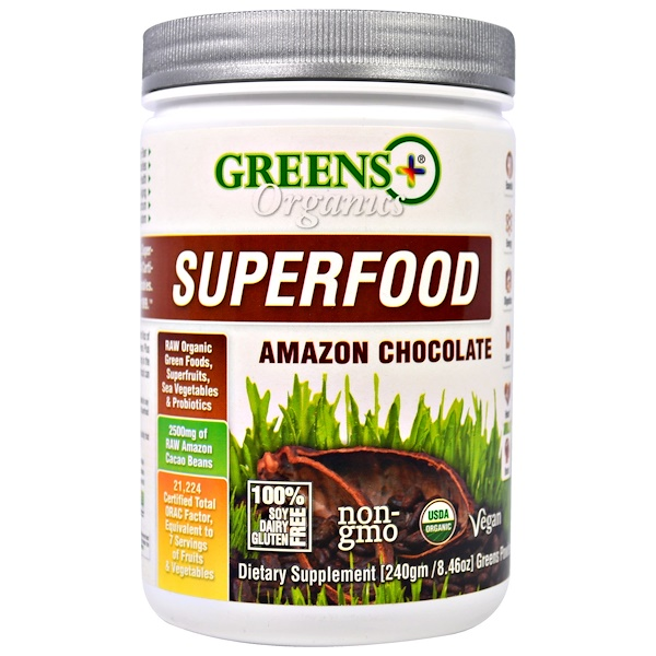 Greens Plus, Органический суперпродукт, Шоколад с Амазонки , 8.46 унций (240 г) (Discontinued Item)