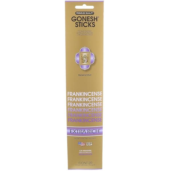 Gonesh, Extra Rich Incense Sticks, Frankincense, 20 Sticks (Discontinued Item)