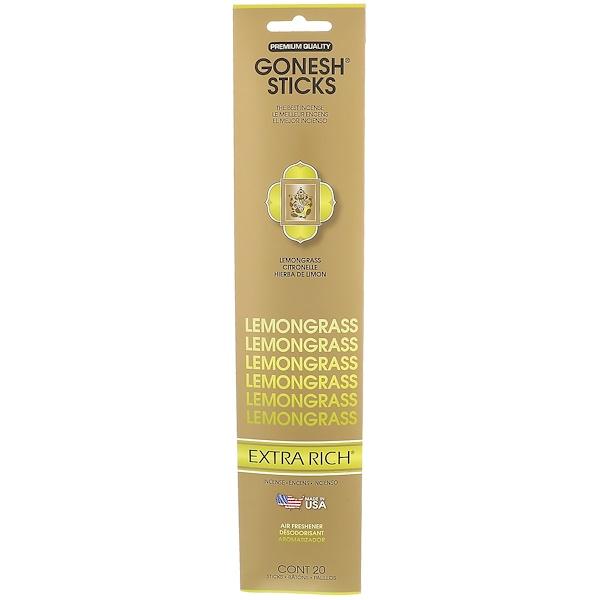Gonesh, Extra Rich Incense Sticks, Lemongrass, 20 Sticks (Discontinued Item)