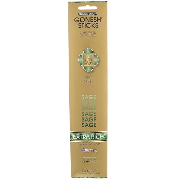 Gonesh, Extra Rich Incense Sticks, Sage, 20 Sticks (Discontinued Item)