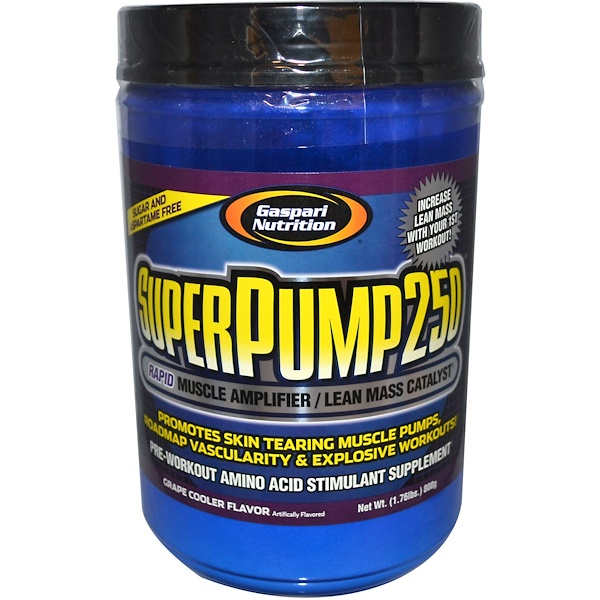 Gaspari Nutrition, SuperPump250, Rapid Muscle Amplifier, Grape Cooler, 1.76 lbs (800 g) (Discontinued Item)