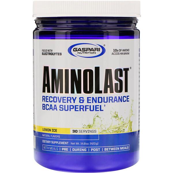 Aminolast, Супертопливо BCAA, восстановление и выносливость, лимонный лед, 14,8 унц. (420 г)
