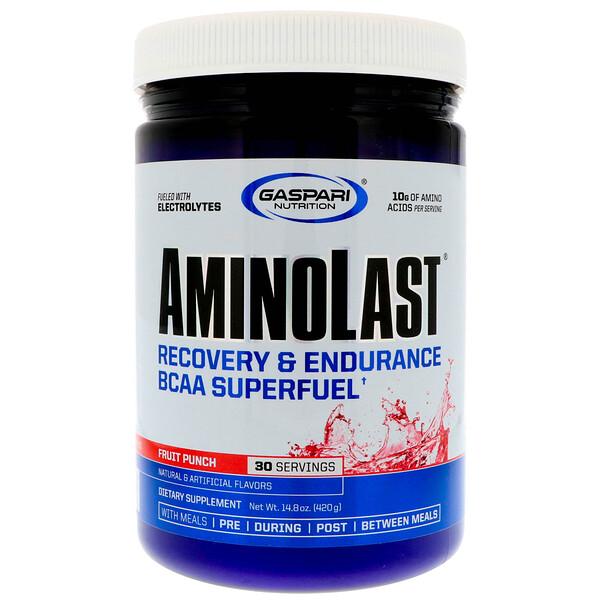 Aminolast, супер-BCAA для восстановления и выносливости, фруктовый пунш, 420 г (14,8 унций)