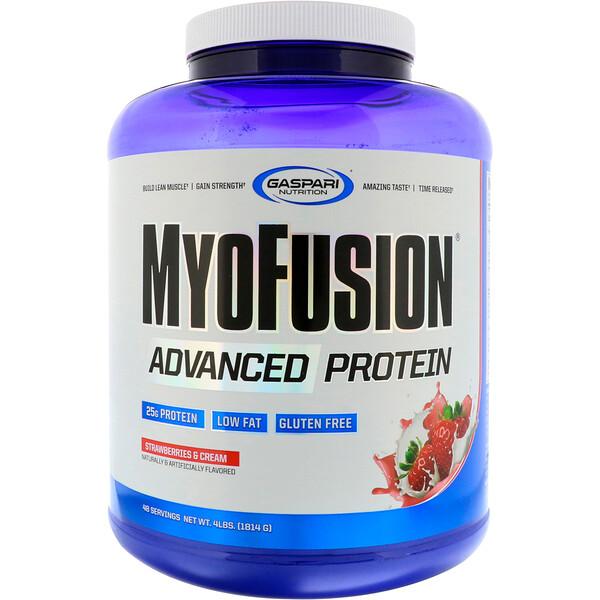 MyoFusion, улучшенный белок, клубника и крем, 4 фунта (1814 г)