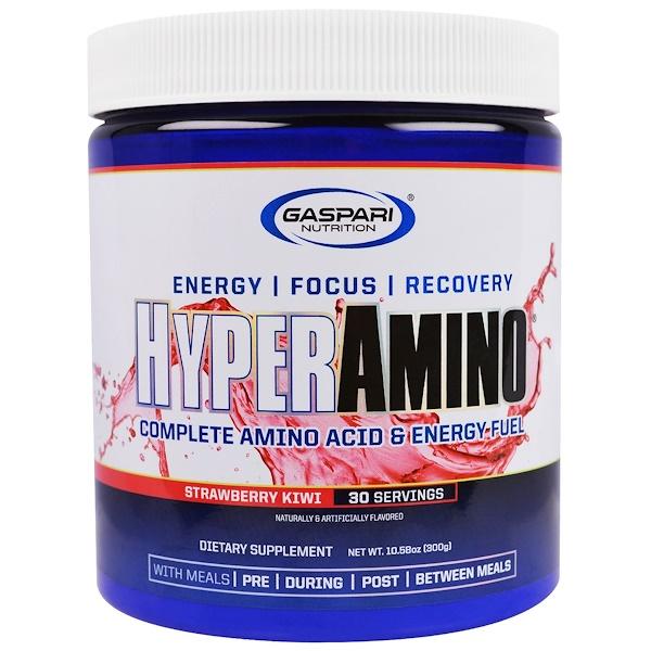 HYPERAMINO, Complete Amino Acid & Energy Fuel, Strawberry Kiwi, 10.58 oz (300 g)