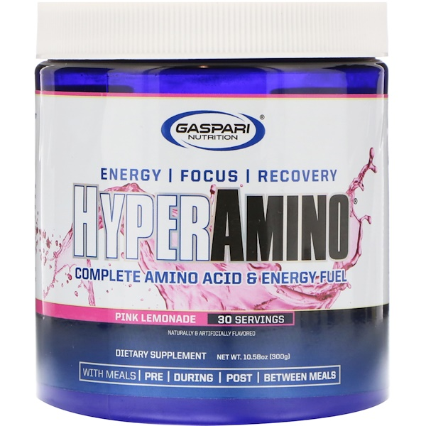 HYPERAMINO, Complete Amino Acid & Energy Fuel, Pink Lemonade, 10.58 oz (300 g)
