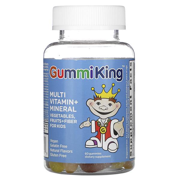 GummiKing, Мультивитаминно-минеральная добавка, с овощами, фруктами и волокнами, для детей, 60 тянучек