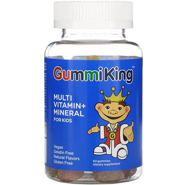 GummiKing, Мультивитаминная и минеральная добавка для детей со вкусом клубники, апельсина, лимона, винограда, вишни и грейпфрута, 60 жевательных конфет