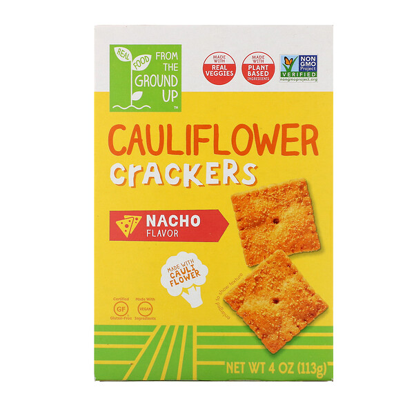 From The Ground Up, Cauliflower Crackers, Nacho, 4 oz (113 g) (Discontinued Item)