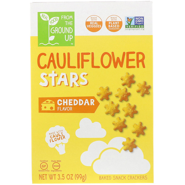 From The Ground Up, Cauliflower Stars, Baked Snack Crackers, Cheddar, 3.5 oz (99 g) (Discontinued Item)