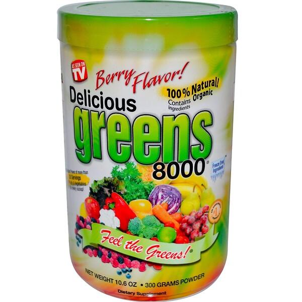 Вкусная зелень 8000, ягодный вкус, 10,6 унций (300 г)