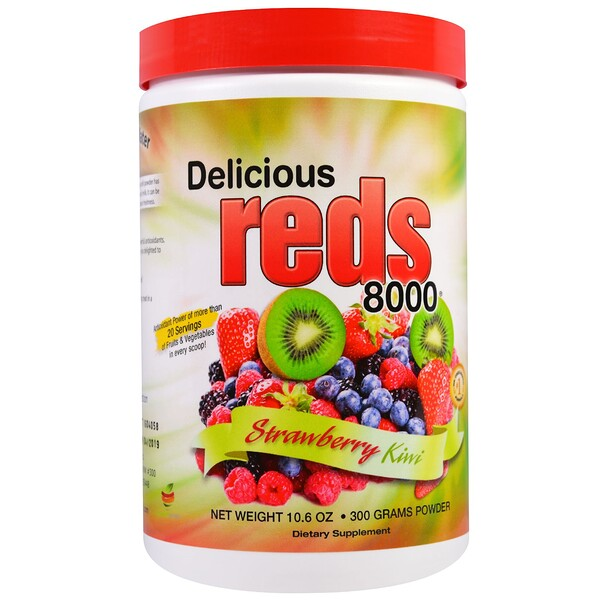 Вкусные красные 8000, клубника и киви, 10,6 унций (300 г)