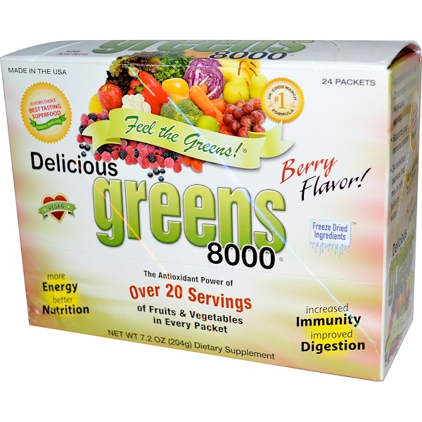Greens World, Delicious Greens 8000, Berry Flavor, 24 Packets, 7.2 oz (204 g) (Discontinued Item)