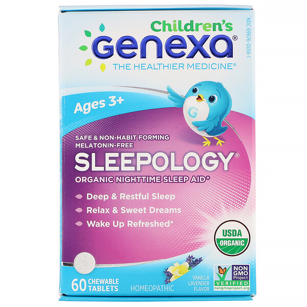 Genexa, Children's Sleepology, Organic Nighttime Sleep Aid, Vanilla Lavender Flavor, Ages 3+, 60 Chewable Tablets
