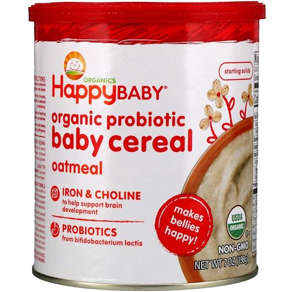 Happy Family Organics, Органическая каша с пробиотиками для детей, овсяная, 198г (Discontinued Item)