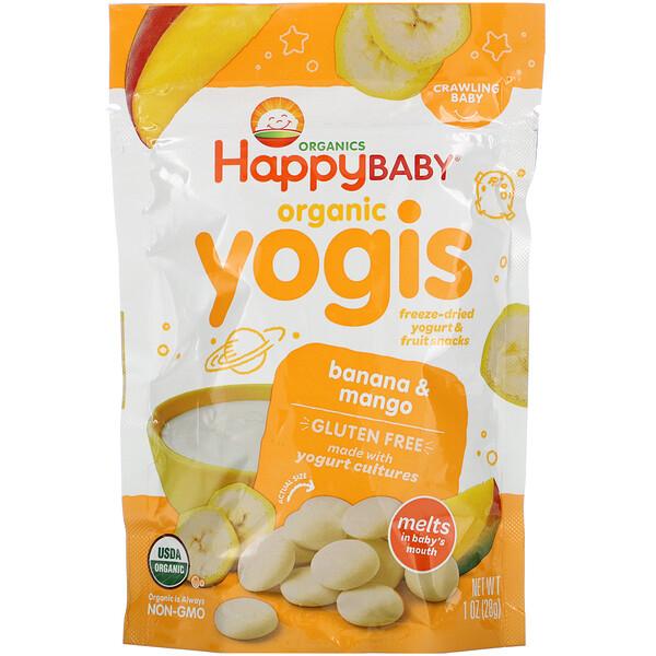 Yogis, органические снеки из сублимированного йогурта с фруктами, банан и манго, 28 г