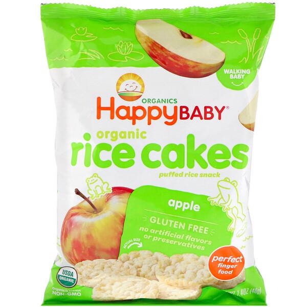Happy Family Organics, Органические рисовые хлебцы, перекус из воздушного риса, яблоко, 40г (1,4унции)