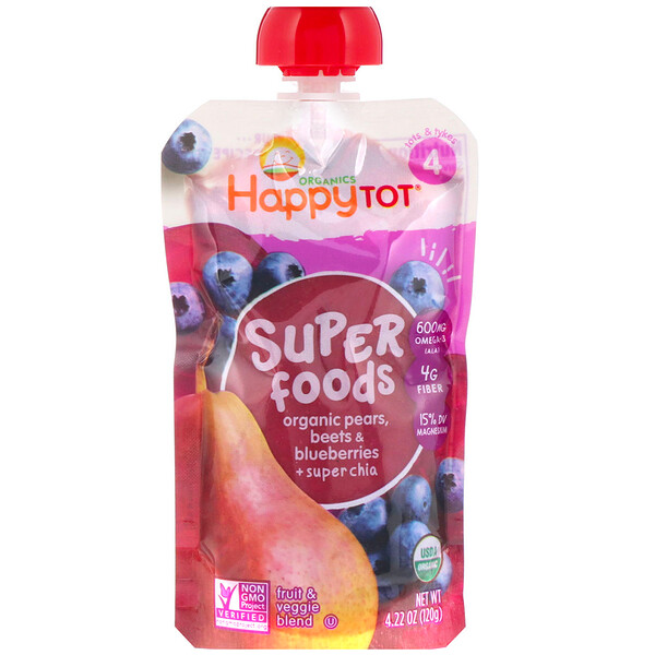 Organic Happy Tot, Super Foods, Organic Pears, Beets & Blueberries + Super Chia, Stage 4, 4 Pack, 4.22 oz (120 g) Each