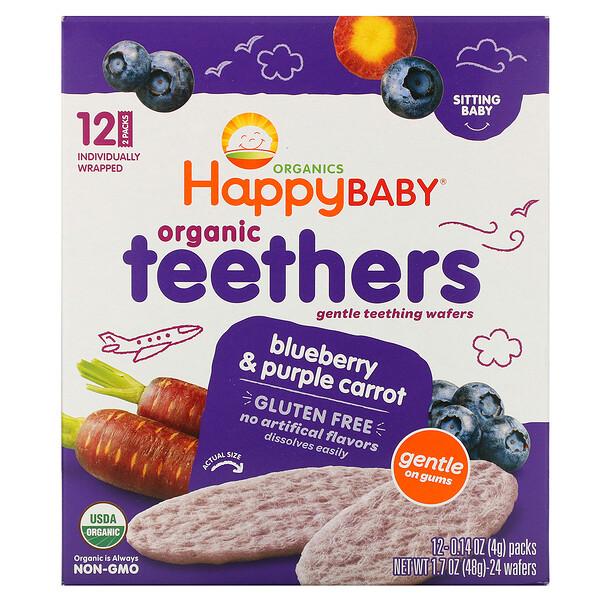 Happy Family Organics, Organic Teethers, вафли для мягкого прорезывания зубов у сидящих малышей, голубика и фиолетовая морковь, 12пакетиков по 4г (0,14унции)