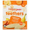 Happy Family Organics, Organic Teethers, вафли для мягкого прорезывания зубов у сидящих малышей, батат и банан, 12пакетиков по 4г (0,14унции)