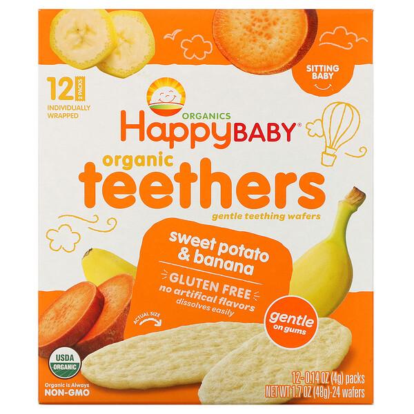 Organic Teethers, вафли для мягкого прорезывания зубов у сидящих малышей, батат и банан, 12пакетиков по 4г (0,14унции)