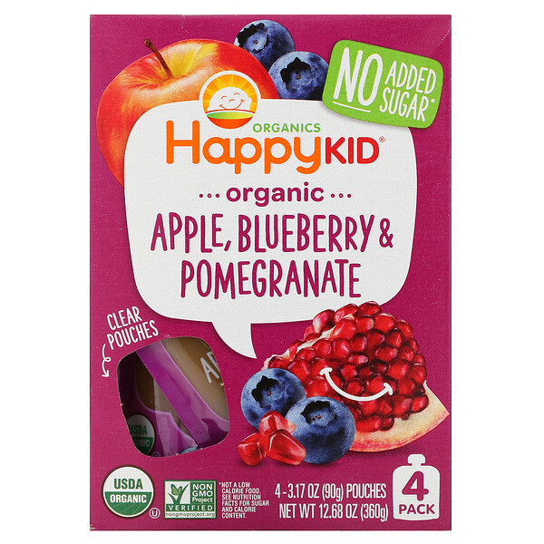 Happy Kid, Organic Apple, Blueberry & Pomegranate, 4 Pouches, 3.17 oz (90 g) Each
