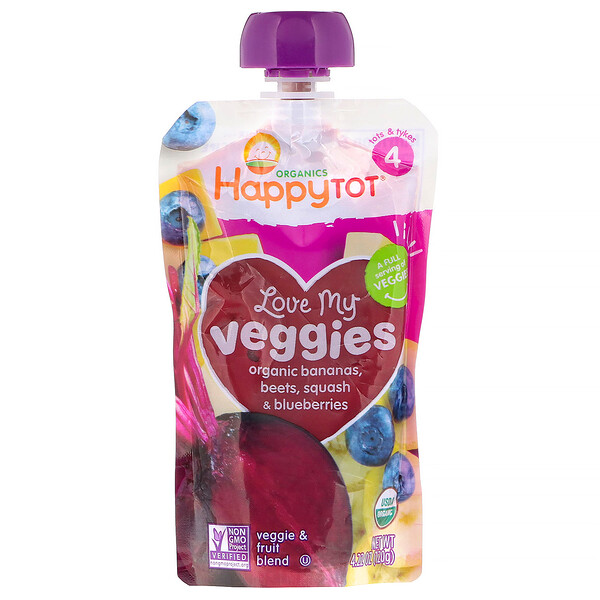 Organics Happy Tot, «Вкусные овощи», органическое пюре из бананов, свеклы, тыквы и голубики, 120г