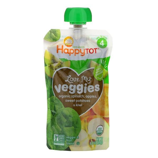 Organics Happy Tot, «Вкусные овощи», органическое пюре из шпината, яблок, батата и киви, 120г