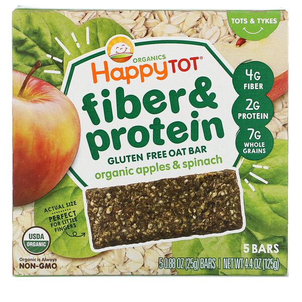 Happy Family Organics, Happytot,  овсяной батончик с волокнами и протеином, органические яблоки и шпинат, 5 батончиков, 0,88 унции (25 г каждый)