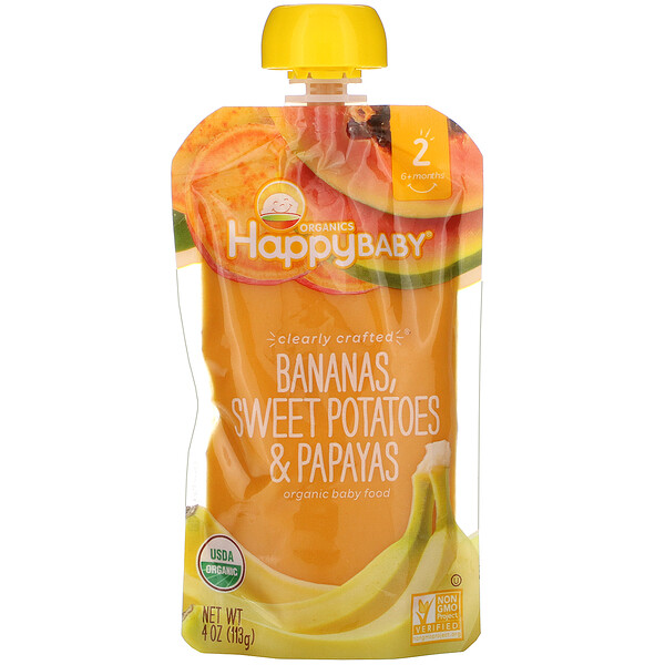 Organic Baby Food, Stage 2, Clearly Crafted, 6+ Months, Bananas, Sweet Potatoes, & Papayas, 4 oz (113 g)