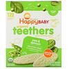 Happy Family Organics, Organic Teethers, вафли для мягкого прорезывания зубов у сидящих малышей, горох и шпинат, 12пакетиков по 4г (0,14унции)
